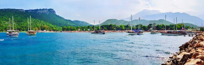 Παραλία σεληνόφωτου σε Kemer, Antalya, Τουρκία στοκ φωτογραφία με δικαίωμα ελεύθερης χρήσης