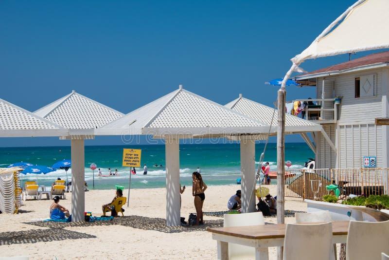 Παραλία σε Netanya, Ισραήλ στοκ εικόνες