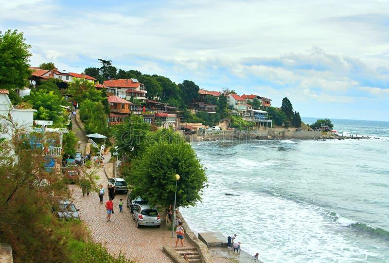 Παραλία στη Μαύρη Θάλασσα σε παλαιό Nessebar, Βουλγαρία στοκ εικόνα με δικαίωμα ελεύθερης χρήσης