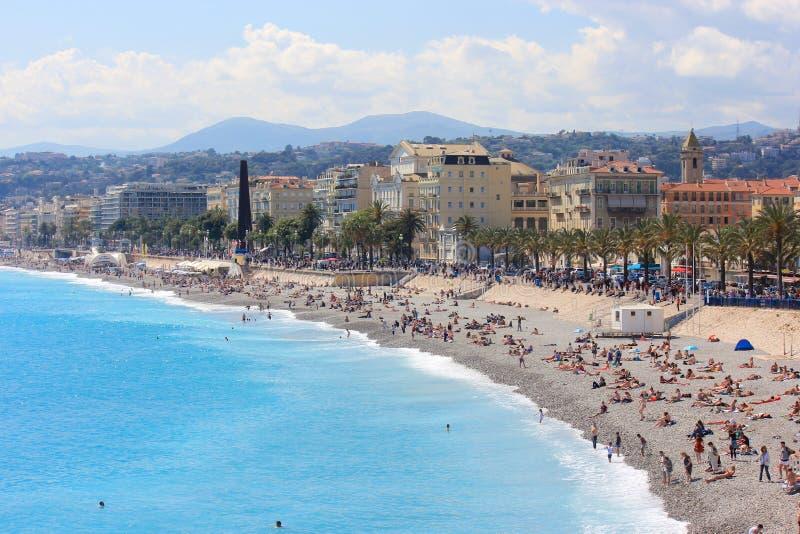 Παραλία στη Νίκαια, υπόστεγο D'Azur, Γαλλία στοκ φωτογραφία με δικαίωμα ελεύθερης χρήσης