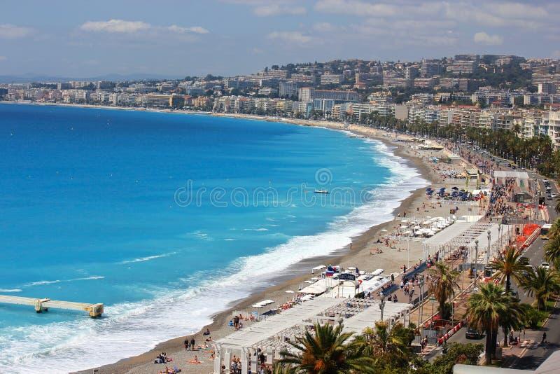 Παραλία στη Νίκαια, υπόστεγο D'Azur, Γαλλία στοκ φωτογραφίες