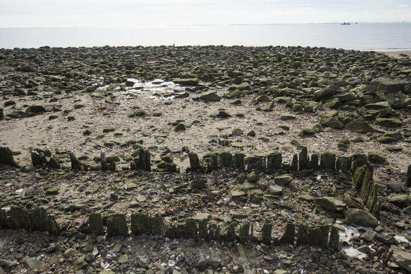 Παραλία στο ασημένιο πάρκο άμμων σε Milford, Κοννέκτικατ στοκ εικόνες