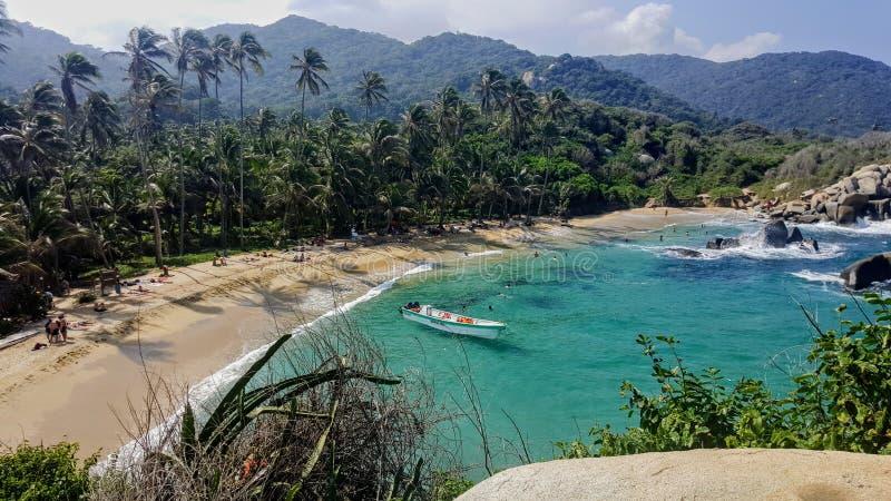 Παραλία στο εθνικό πάρκο Tayrona στοκ εικόνα με δικαίωμα ελεύθερης χρήσης