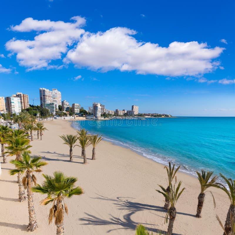 Παραλία της Αλικάντε San Juan του Λα Albufereta στοκ φωτογραφίες με δικαίωμα ελεύθερης χρήσης