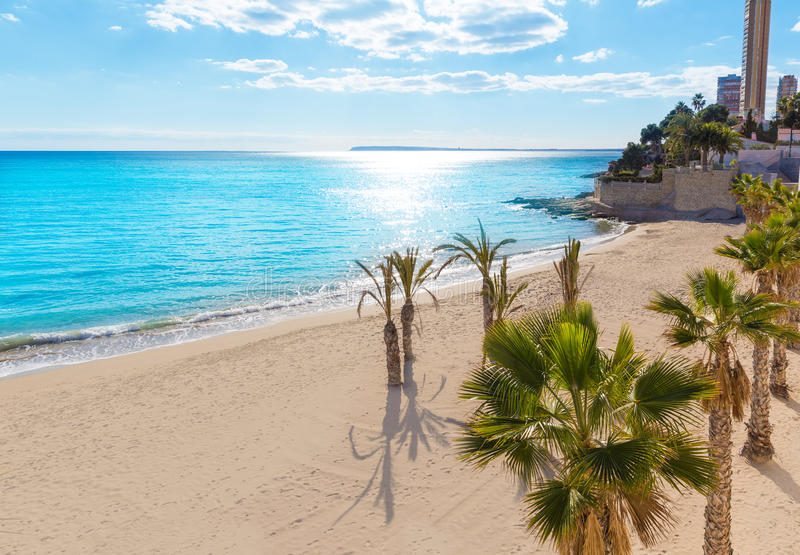 Παραλία της Αλικάντε San Juan του Λα Albufereta στοκ εικόνα