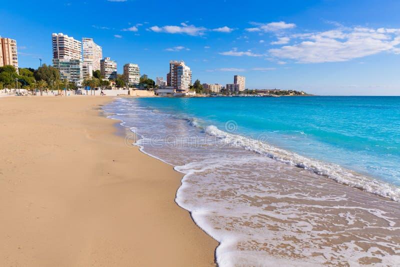 Παραλία της Αλικάντε San Juan του Λα Albufereta στοκ εικόνες