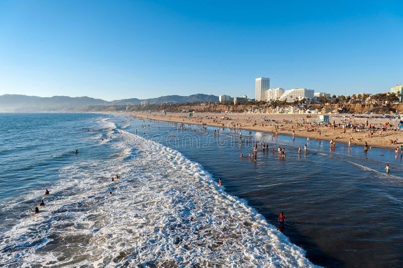 Παραλία της Σάντα Μόνικα στο ηλιοβασίλεμα, Λος Άντζελες, Καλιφόρνια, ΗΠΑ στοκ φωτογραφία