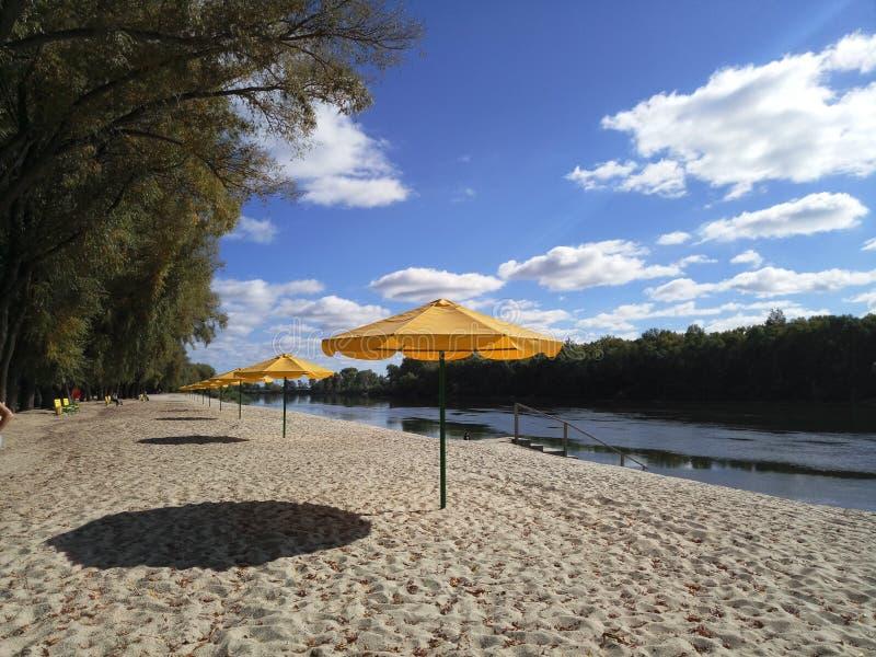 Παραλία φθινοπώρου στην όχθη ποταμού στοκ εικόνες με δικαίωμα ελεύθερης χρήσης