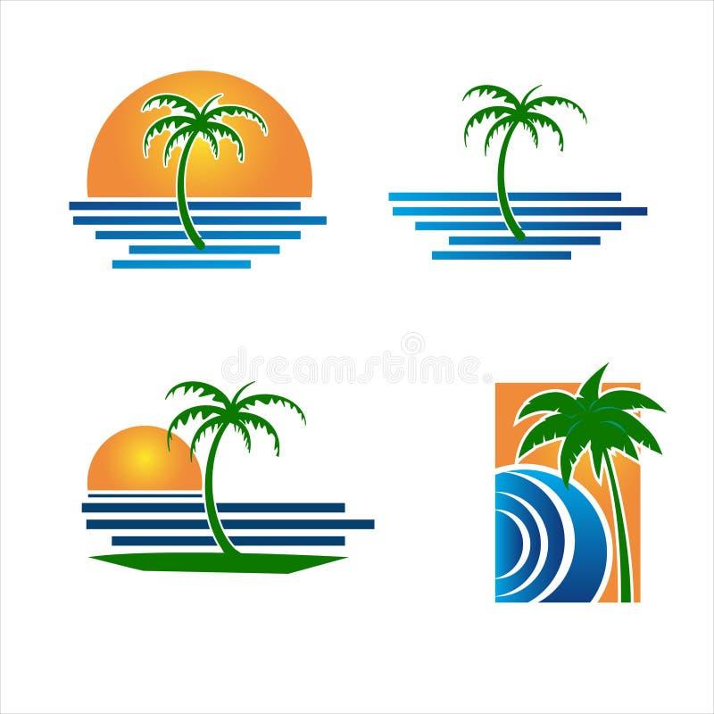 Παραλία φοινικών λογότυπων ελεύθερη απεικόνιση δικαιώματος