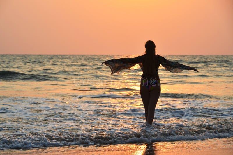 Παραλία Agonda Νότος Goa, Ινδία στοκ φωτογραφία με δικαίωμα ελεύθερης χρήσης