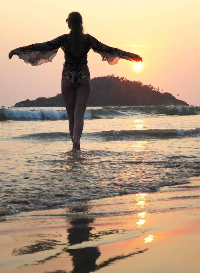 Παραλία Agonda Νότος Goa, Ινδία στοκ εικόνες