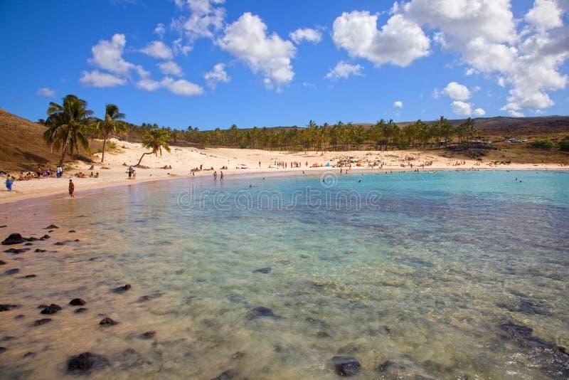 Παραλία Anakena, νησί Πάσχας, Χιλή στοκ εικόνες