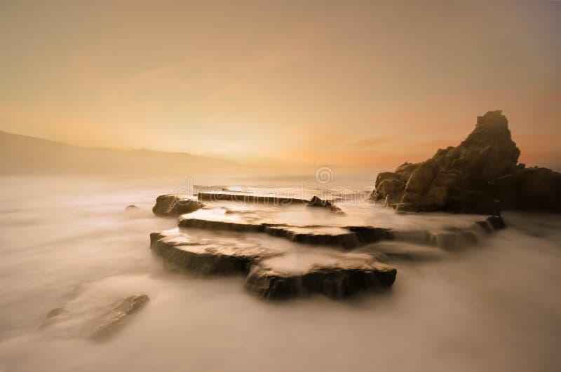 Παραλία Azkorri στο ηλιοβασίλεμα στοκ φωτογραφίες με δικαίωμα ελεύθερης χρήσης