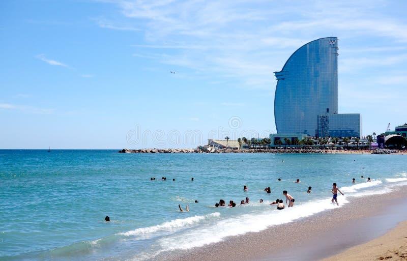 Παραλία Barceloneta στη Βαρκελώνη στοκ εικόνες