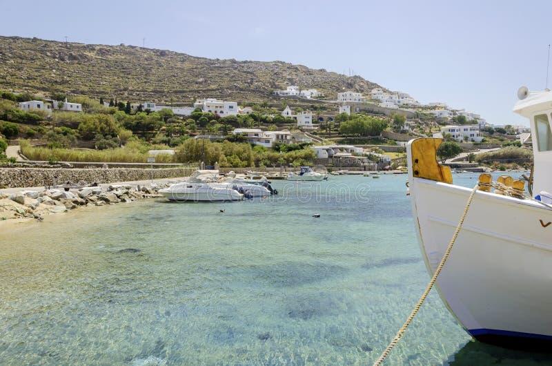 Παραλία Ornos, Μύκονος, Ελλάδα στοκ εικόνες