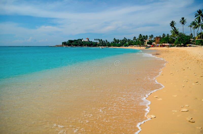 Παραλία Unawatuna στη Σρι Λάνκα στοκ φωτογραφίες