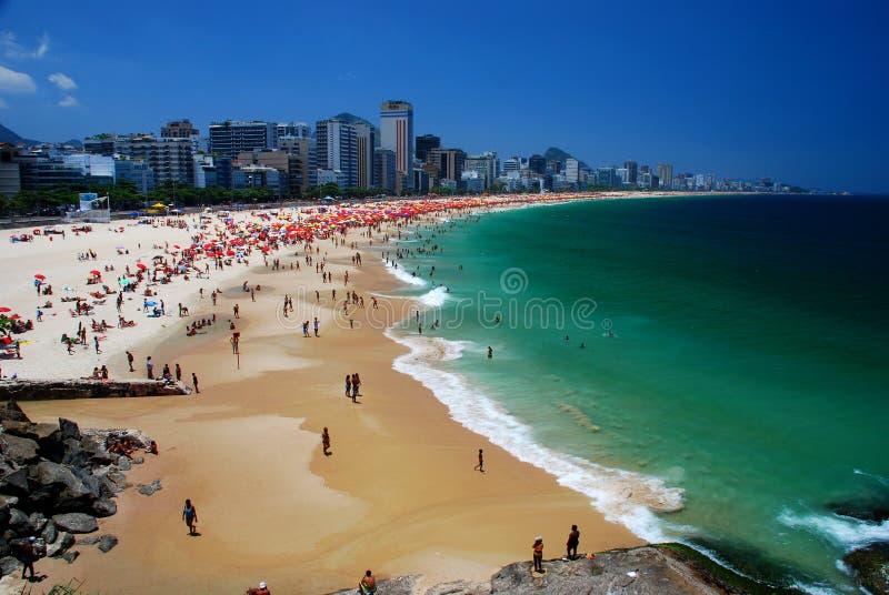 Παραλίες Leblon & Ipanema. Ρίο ντε Τζανέιρο, Βραζιλία στοκ φωτογραφία