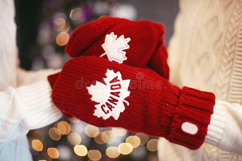 Παραδίδει τα κόκκινα γάντια πέρα από το χριστουγεννιάτικο δέντρο στοκ φωτογραφία