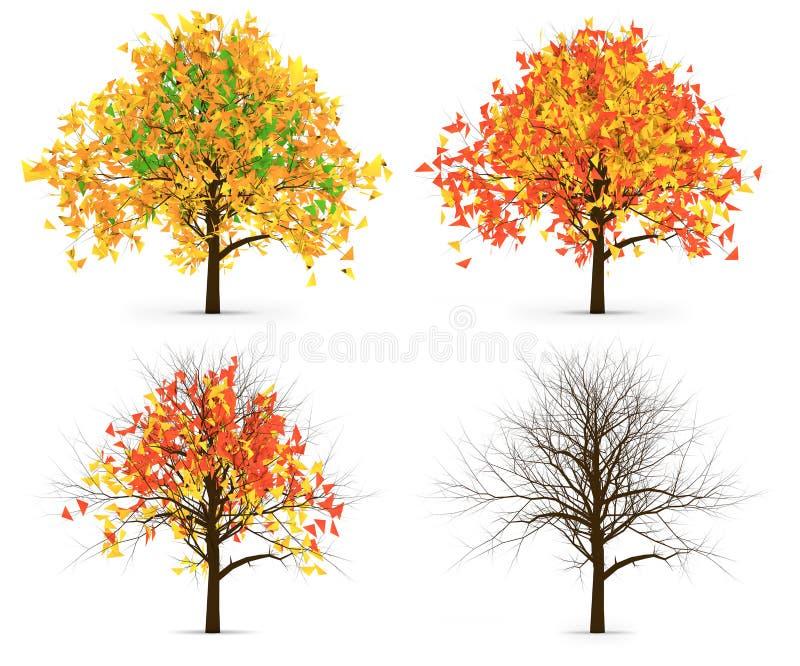 Παραλλαγή χρώματος τεσσάρων φθινοπώρου φύλλων δέντρων ελεύθερη απεικόνιση δικαιώματος