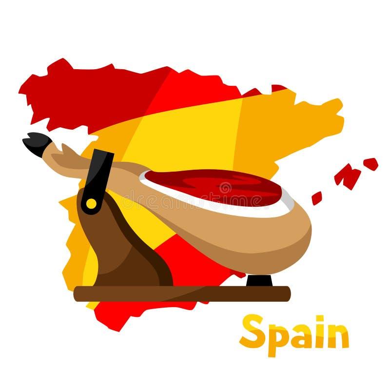 Παραδοσιακά ισπανικά τρόφιμα jamon Πόδι χοιρινού κρέατος απεικόνισης στο χάρτη υποβάθρου της Ισπανίας ελεύθερη απεικόνιση δικαιώματος