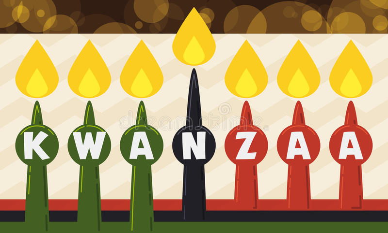 Παραδοσιακά κεριά για τον εορτασμό Kwanzaa στο επίπεδο ύφος, διανυσματική απεικόνιση απεικόνιση αποθεμάτων