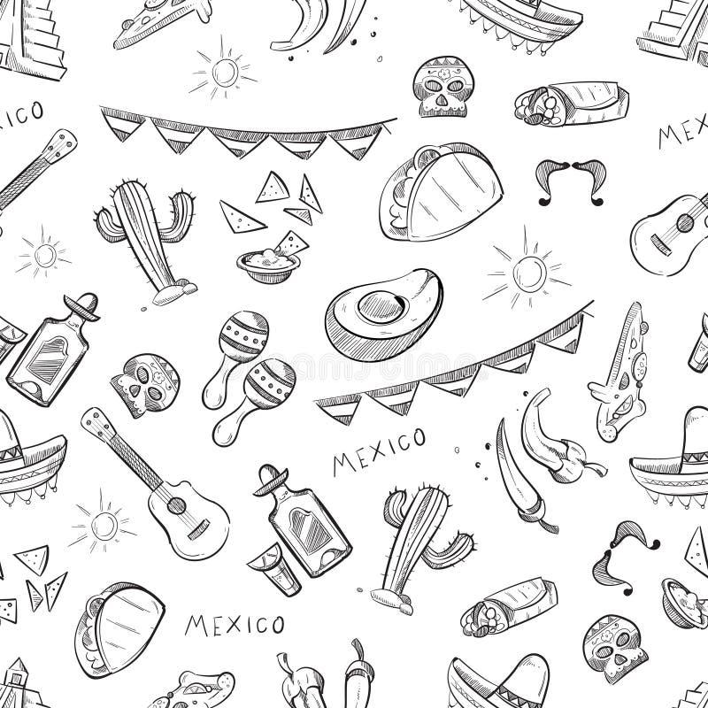 Παραδοσιακά μεξικάνικα τρόφιμα, διανυσματικό άνευ ραφής σχέδιο στοιχείων πολιτισμού του Μεξικού διανυσματική απεικόνιση