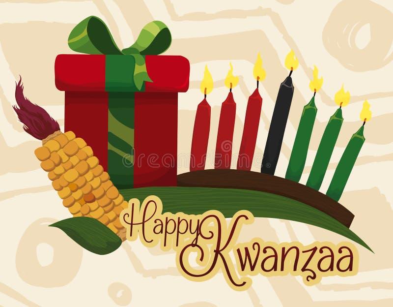 Παραδοσιακά στοιχεία Kwanzaa με το μήνυμα χαιρετισμού και το δώρο, διανυσματική απεικόνιση ελεύθερη απεικόνιση δικαιώματος