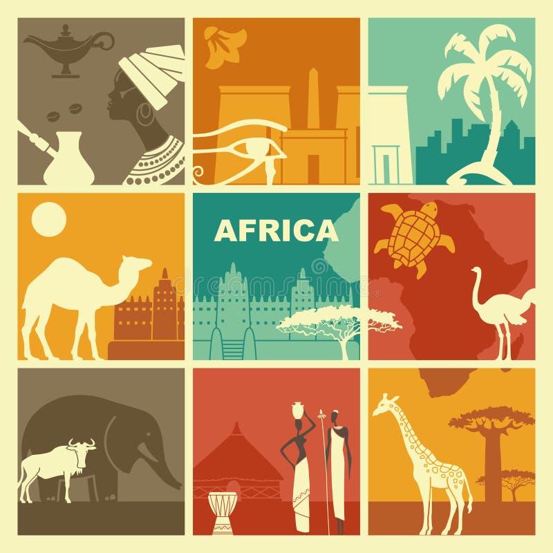Παραδοσιακά σύμβολα της Αφρικής διανυσματική απεικόνιση