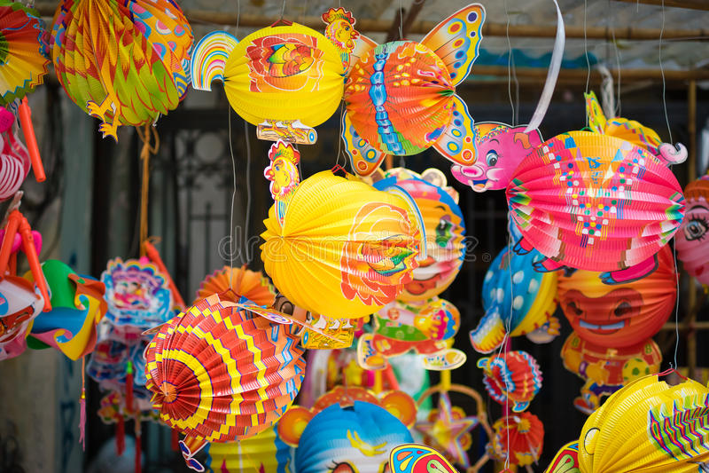 Παραδοσιακές διακοσμήσεις χρώματος στο φεστιβάλ μέσος-φθινοπώρου της Ασίας στοκ φωτογραφία με δικαίωμα ελεύθερης χρήσης