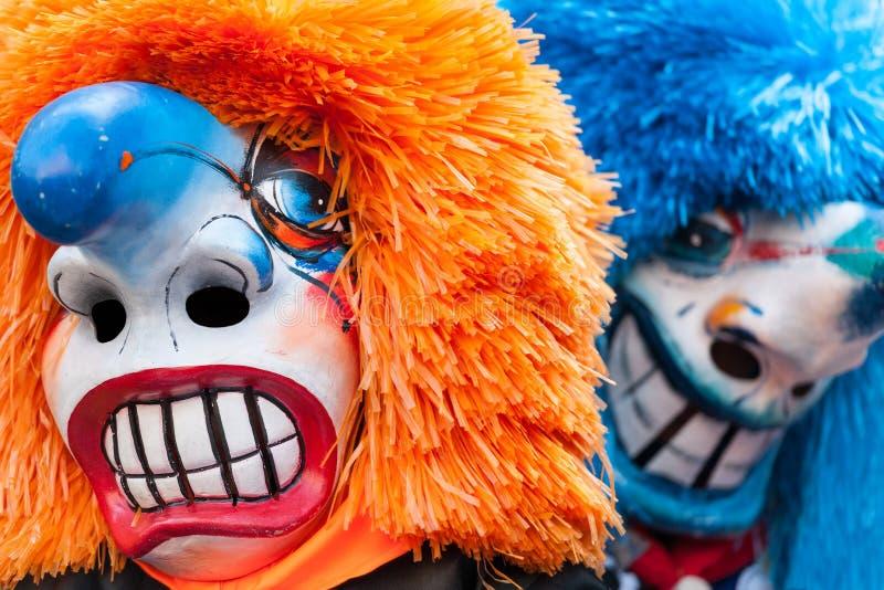Παραδοσιακές μάσκες Waggis στο φεστιβάλ Βασιλεία, Ελβετία Fasnacht στοκ φωτογραφία με δικαίωμα ελεύθερης χρήσης