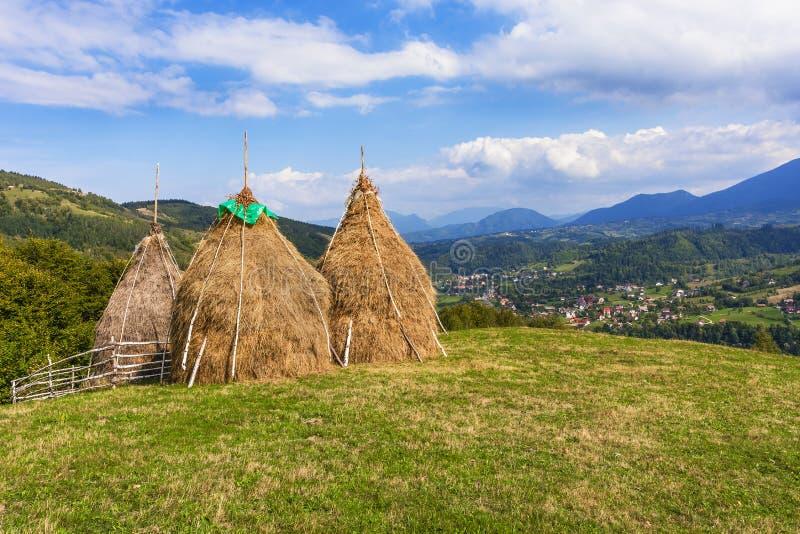 Παραδοσιακές ρουμανικές θυμωνιές χόρτου στοκ φωτογραφίες
