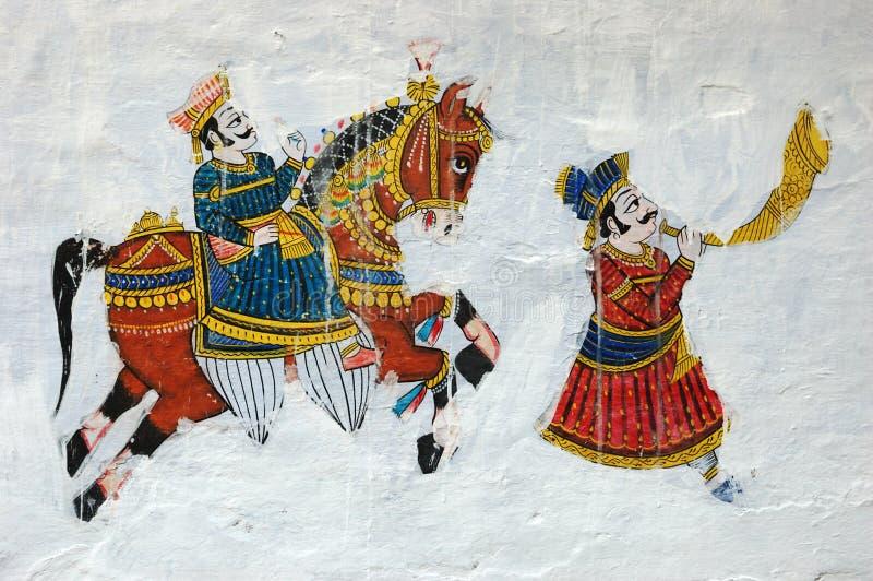 Παραδοσιακή ζωηρόχρωμη μεσαιωνική ζωγραφική τοίχων σε Udaipur, Ινδία στοκ εικόνες