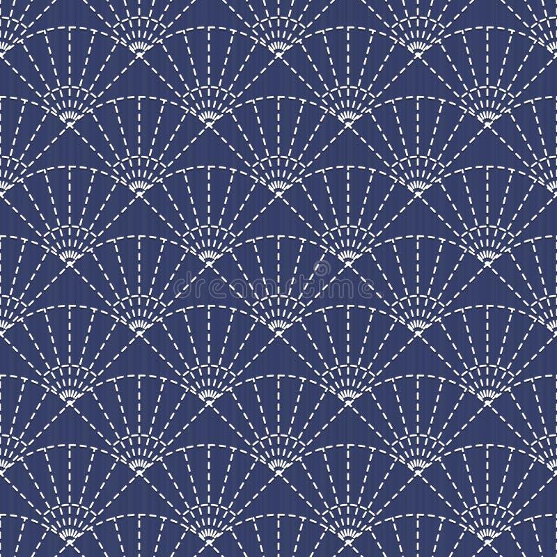 Παραδοσιακή ιαπωνική διακόσμηση κεντητικής με τους ανεμιστήρες Διάνυσμα seaml απεικόνιση αποθεμάτων