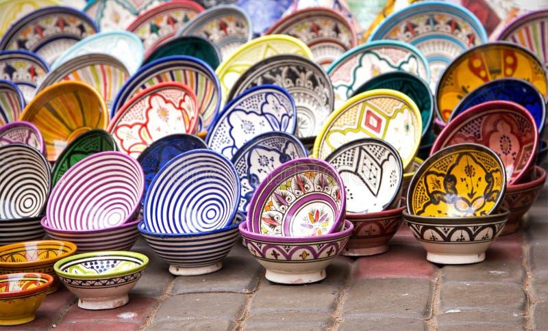 Παραδοσιακή κεραμική αγγειοπλαστική στο Μαρόκο στοκ εικόνα