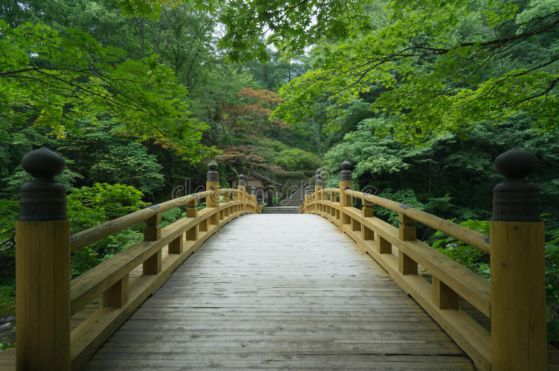Παραδοσιακή ξύλινη γέφυρα στον παλαιό ιαπωνικό κήπο, Κιότο στοκ φωτογραφίες με δικαίωμα ελεύθερης χρήσης