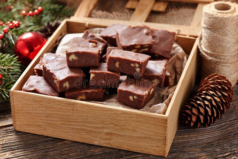 Παραδοσιακή σπιτική σοκολάτα φοντάν Χριστουγέννων στοκ εικόνες