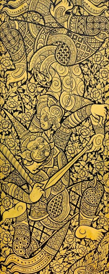 Παραδοσιακή ταϊλανδική ζωγραφική στοκ εικόνα με δικαίωμα ελεύθερης χρήσης