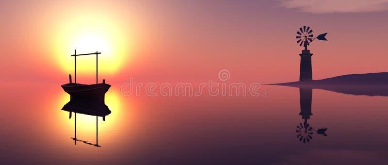 παραδοσιακός ανεμόμυλος και παραδοσιακή βάρκα στοκ φωτογραφίες