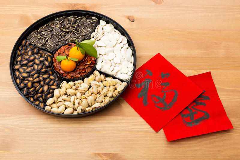 Παραδοσιακός σεληνιακός νέος δίσκος πρόχειρων φαγητών έτους και κινεζική καλλιγραφία, μ στοκ φωτογραφία με δικαίωμα ελεύθερης χρήσης