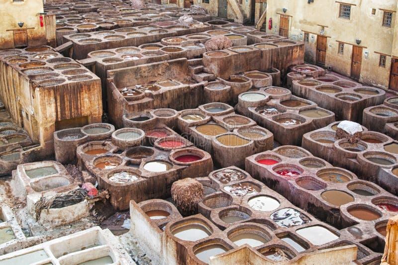Παραδοσιακός φλοιός δέρματος Chouwara στο αρχαίο medina Fes EL Μπαλί, Μαρόκο στοκ εικόνες με δικαίωμα ελεύθερης χρήσης