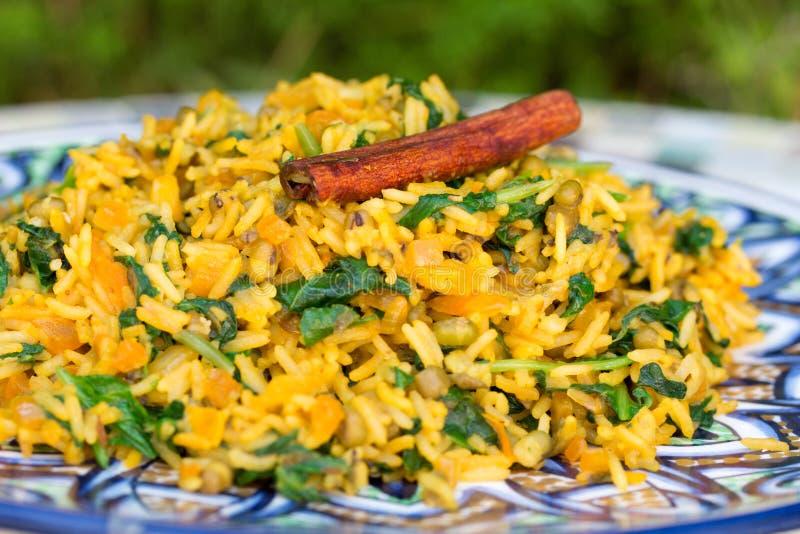 Παραδοσιακό ινδικό πιάτο αποκαλούμενο khichdi με το ραβδί κανέλας στοκ φωτογραφία
