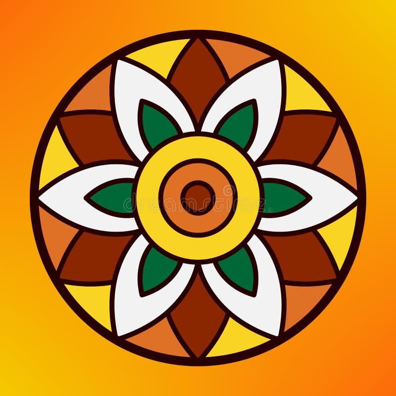 Παραδοσιακό ινδικό rangoli διακοσμήσεων για τη ευχετήρια κάρτα φεστιβάλ Onam ή Diwali ελεύθερη απεικόνιση δικαιώματος