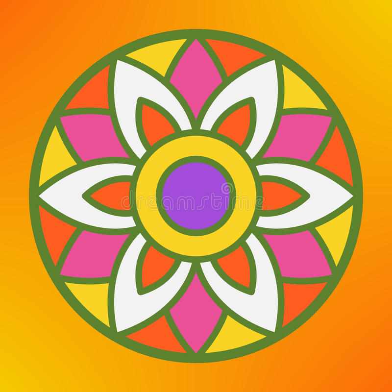 Παραδοσιακό ινδικό rangoli διακοσμήσεων για τη ευχετήρια κάρτα φεστιβάλ Onam ή Diwali Πορτοκαλιά ανασκόπηση διανυσματική απεικόνιση