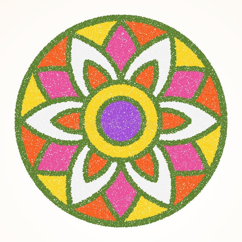 Παραδοσιακό ινδικό rangoli διακοσμήσεων για τη ευχετήρια κάρτα φεστιβάλ Onam ή Diwali απεικόνιση αποθεμάτων