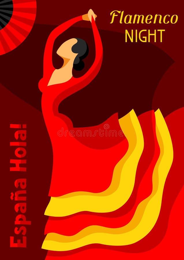 Παραδοσιακό ισπανικό flamenco Η γυναίκα στο κόκκινο φόρεμα χορεύει διανυσματική απεικόνιση