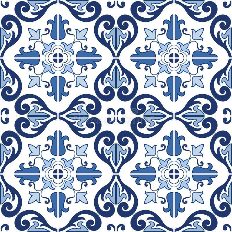 Παραδοσιακό περίκομψο πορτογαλικό άνευ ραφής σχέδιο azulejos κεραμιδιών επίσης corel σύρετε το διάνυσμα απεικόνισης ελεύθερη απεικόνιση δικαιώματος