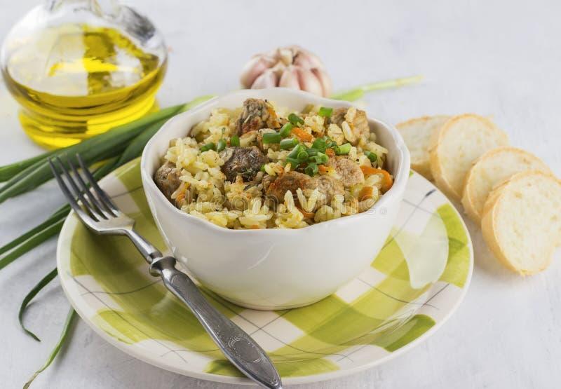 Παραδοσιακό πιάτο pilaf με το κρέας, το ρύζι και τα λαχανικά Στο λευκό στοκ εικόνα