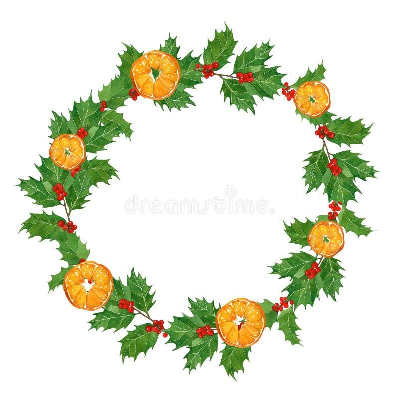 Παραδοσιακό στεφάνι watercolor Χριστουγέννων με τα πορτοκάλια, τα μούρα ελαιόπρινου και τα φύλλα στο άσπρο υπόβαθρο συρμένο χέρι διανυσματική απεικόνιση