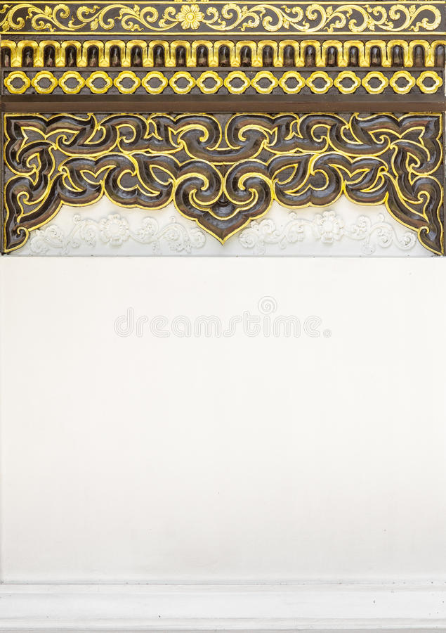 Παραδοσιακό ταϊλανδικό διακοσμητικό υπόβαθρο σχεδίων ύφους στο ναό, στοκ εικόνα