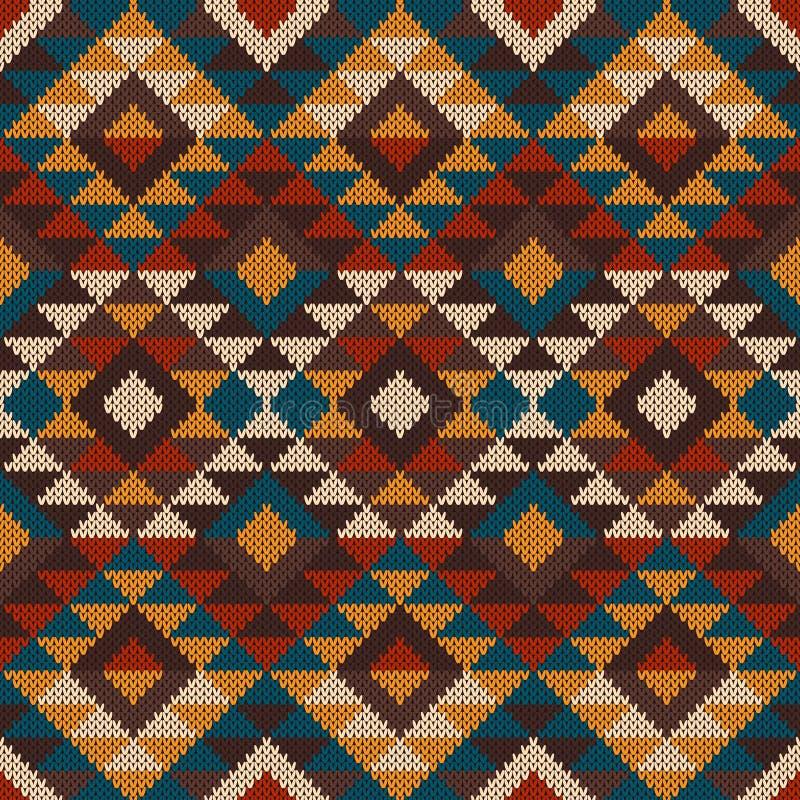 Παραδοσιακό φυλετικό των Αζτέκων άνευ ραφής σχέδιο στο μαλλί πλεκτό te διανυσματική απεικόνιση